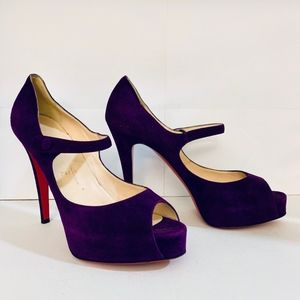 Louboutin JANE VENDOME 120 Purple Suede Pump